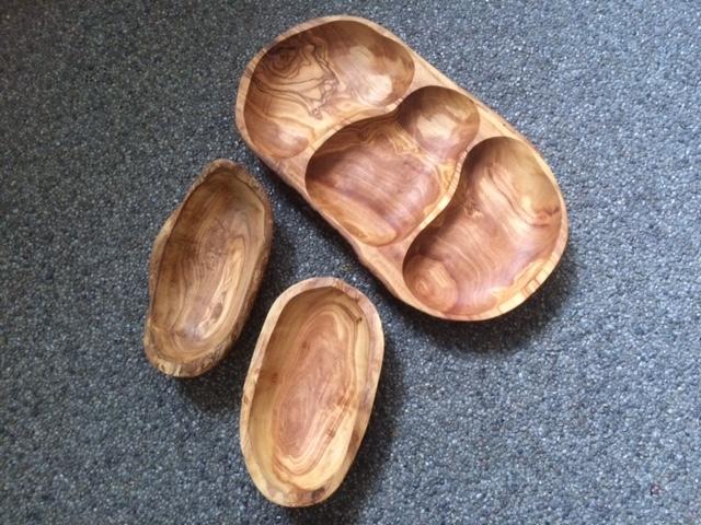 Olijfhouten drievakschaal & set van 2 olijfschaaltjes