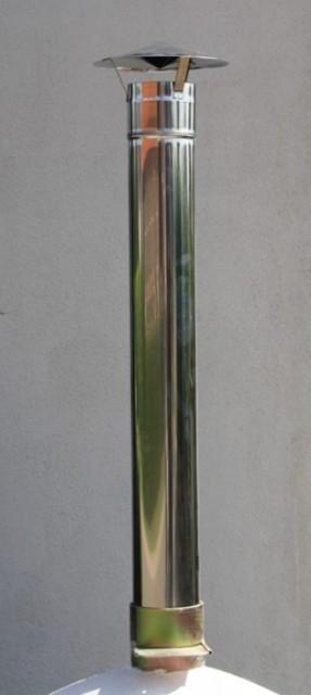 Schoorsteenpijp INOX incl. dakje 130mm