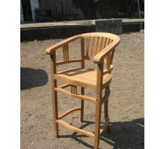 Teakhout stoel ronde rugleuning / barkruk