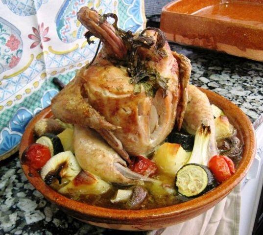 Vuurvaste ovenschaal/ rond voor kip/ diameter 28 cm