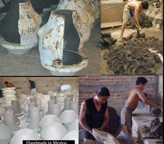 Productie Mexicaanse terrashaarden, het maken van de klei
